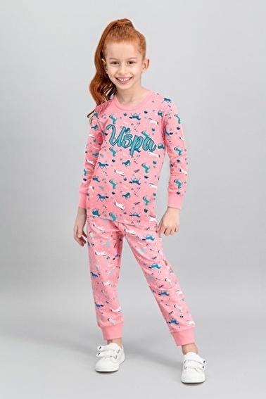 U.S. Polo Assn. U.S. Polo Assn Lisanslı Grimelanj Kız Çocuk Pijama Takımı Pembe